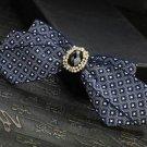 Mens Blue Checks Pre Tired Bow Tie Adjustable Polyester Crystal Bowtie Necktie
