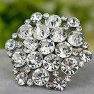 Sexy Rhinestone Crystal Silver Tone Hexagon Wedding Bridal Shoe Clips Pair
