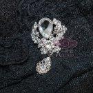 LOT OF 4 RHINESTONES CRYSTAL BRIDAL WEDDING DANGLE CRAFT BROOCH PIN