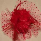 Red Dot Net Feather Rose Wedding Flower Girl Bride Hair Clip - CA