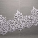 Bridal Wedding Off White Embroidered Flower Lace Trim Veil trim Per 24 inch