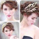 Wedding Bridal Gold Leaf Feather Crystal Tiara Crown Headpiece Hair Accessories