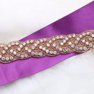 1 Yard Long Rose Gold Beaded Crystal Rhinestone Bridal Headband Applique Trim