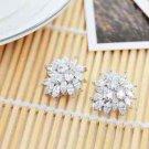 Bride Bridesmaids Wedding Party Zircon Platinum Plated Stud Earrings