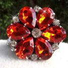Sparkling Acrylic Crystal Wedding Flower Bridal Red Tone Shoe Clips Pair
