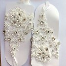 Off White Acrylic Crystal Fingerless Lace Wedding Bride Short Elastic Gloves