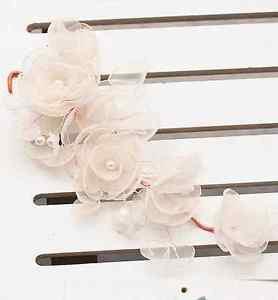 Wedding Bridal Peach Pink Organza Flower Faux Pearl Leaf Hair Tiara Clip