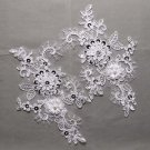 Off White Wedding Sequin Pearl Flower Floral Embroidered Lace Applique Pair