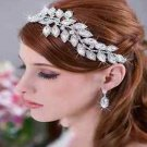 Bridal Wedding Leaf Rhinestone Crystal Soft Hair Tiara Headpiece