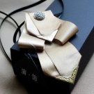 Gold Ribbon Smart Men Wedding Boutonniere Metal Chain Pre-Tied Tie