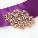 Vintage Style Rose Gold Beaded Rhinestone Crystal Wedding Bridal Applique