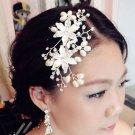 Lot Of 2 Flower Faux Pearl Crystal Rhinestone Wedding Bridal Hair Comb -CA