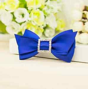 Royal Blue Ribbon Rhinestone Crystal Sqaure Bow Wedding Shoe Charm Clips Pair