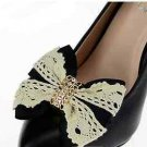 Black Bow Ivory Lace Crystal Buckle Wedding Bridal Ribbon Shoe Clips Pair