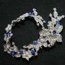 LOT OF 3 WEDDING BLUE RHINESTONE CRYSTAL FLOWER SEWING HAIR APPLIQUE CHAIN