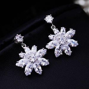 Snowflake Snow Wedding Jewelry Star Zircon Stud Platinum Plated Dangle Earrings