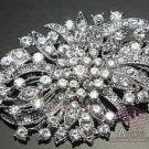 LOT OF 4 BRIDAL WEDDING CAKE HAIR CRAFT CLEAR RHINESTONE CRYSTAL BROOCH PIN