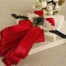 Vintage Style Color Ribbon Wedding Men Pre Tied Bow Tie Brooch Pin Clip