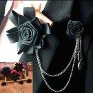 Handmade Mens Smart Ribbon Black Color Chain Tuxedo Brooch Pin Accessory