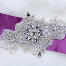 Beaded Rhinestone Crystal DIY Craft Dress Sash Applique Patch -CA