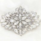 Bridal Wedding Marquise Rhinestone Crystal Large Brooch Pin -CA