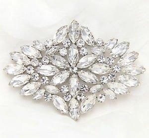 Bridal Wedding Marquise Rhinestone Crystal Large Brooch Pin -CA