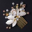 Wedding Bridal Gold Beads Leaf Crystal Headpiece Hair Comb Accessories