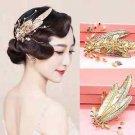 Vintage Leaf Gold Tone Wedding Rhinestone Crystal Faux Pearl Hair Clip