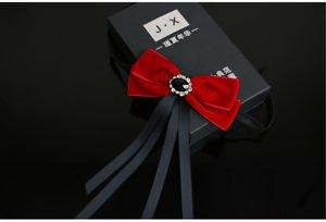 Crystal Red Ribbon Wedding Men Pre Tied Velvet Bow Tie Brooch Pin Clip