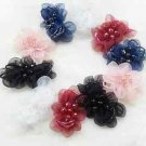 A Pair Black White Red Blue Organza Flower Beads Wedding Bridal Shoe Clips
