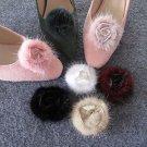 A Pair Black White Mauve Beige Rose Burgundy Flower Bridal Fur Shoe Clips