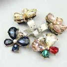 Simple Fashion Color Butterfly Rhinestone Crystal Shoe Clips Pair
