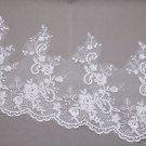 Silver Thread Bridal Wedding Off White Flower Lace Trim Veil Per 1/2 Meter DIY