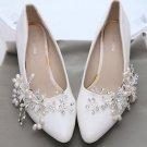 Flower Pearl Rhinestone Crystal Wedding Bridal Shoe Clips Pair