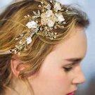 Gold Silver Leaf Wedding Bridal Pearl Crystal Hair Tiara Headpiece Accessories