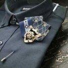 Skull Party Fashion Mens Fibre Ribbon Corsage Brooch Label Pin Boutonniere
