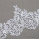 Vintage Bridal Wedding Sequin Cream White Flower Lace Trim Veil Per 1/2 Meter