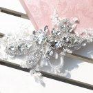 Bridal Wedding Flower Lace Rhinestone Crystal Applique Establishment