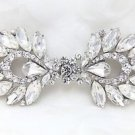 Wedding Bridal Rhinestone Crystal Dress Sash Belt Matching Button Closure Clasp