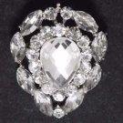 Classic Teardrop Rhinestone Crystal Silver Tone Wedding Bridal Cake Brooch Pin