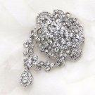 3 Pieces Bridal Wedding Vintage Style Clear Rhinestone Crystal Dangle Brooch Pin