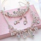 Wedding Bridal Rhinestone Crystal Ivory Pearl Necklace Crown Jewelry Set