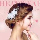 Wedding Bridal Cream White Flower Faux Pearl Headpiece Hair Clip Fascinator