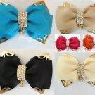 Orange/Azalea/Black/Ivory Gold Bow Crystal Wedding Bridal Shoe Clips Pair -CA