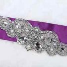 "7.9"" Vintage Style Wedding Sash Beaded Glass Rhinestone Crystal Pearl Applique"