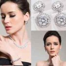 Platinum Plate CZ Round Dangle Crystal Cubic Zirconia Stud Earrings