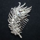 New Rhinestone Feather Bridal Crystal Wedding Prom Tiara Hair Comb - CA