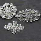 Lot 3pc Mixed Alloy Sliver Rhinestone Crystal Brooch DIY Wedding Bouquet