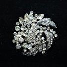 Wedding Bridal Leaf Round Corsage Rhinestone Crystal Brooch Pin