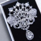Bridal Wedding Vintage Style Clear/Aurora Rhinestone Crystal Dangle Brooch Pin